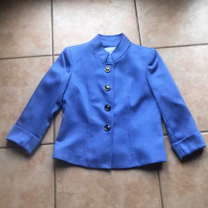 Tahari ASL Periwinkle Snap Front Blazer Size 4